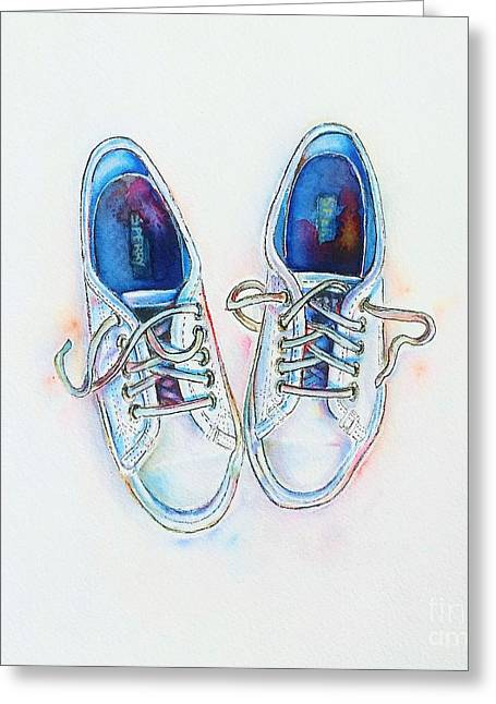 Shoes Greeting Cards - White sneakers Greeting Card by Willow Heath