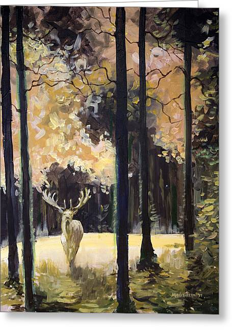 Fantasy Creatures Paintings Greeting Cards - White Stag Greeting Card by Melissa Herrin