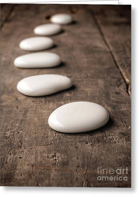 White Stones On Wood Greeting Card by Andreas Berheide