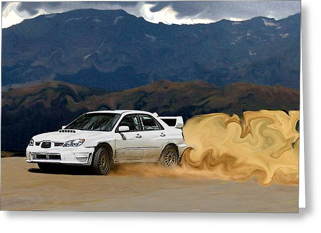 Subaru Rally Greeting Cards - White Subaru STi Drifting in the Mountains Greeting Card by Erin Hissong