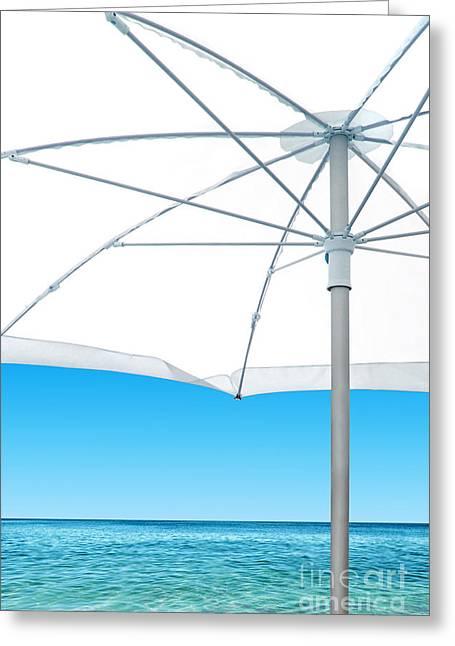 Ocean Panorama Greeting Cards - White Sunshade Greeting Card by Carlos Caetano