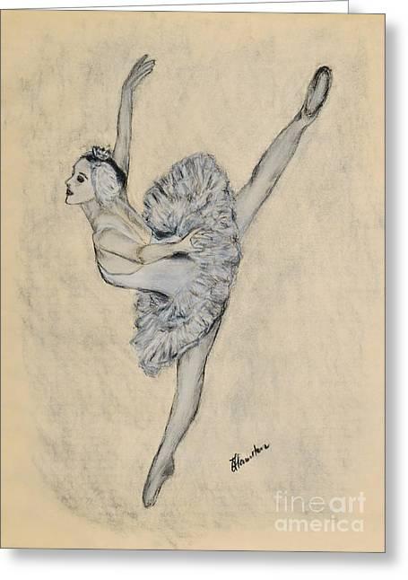 Ballet Dancers Drawings Greeting Cards - White Swan Greeting Card by Olga Hamilton
