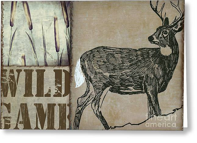 Woodcut Paintings Greeting Cards - White Tail Deer Wild Game Rustic Cabin Greeting Card by Mindy Sommers