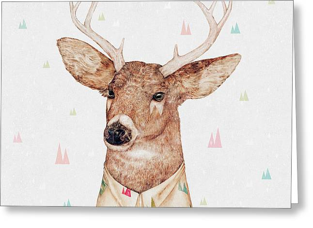 White Tailed Deer Square Greeting Card by Animal Crew
