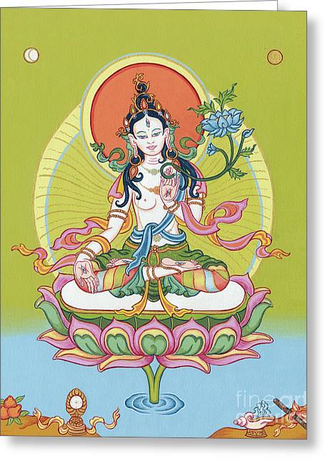 Bodhisatva Greeting Cards - White Tara Greeting Card by Carmen Mensink