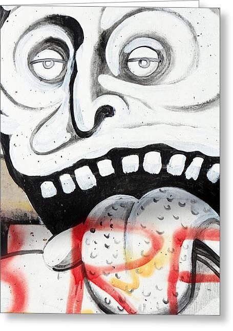 Holy Land Art Greeting Cards - White Teeth Greeting Card by Munir Alawi