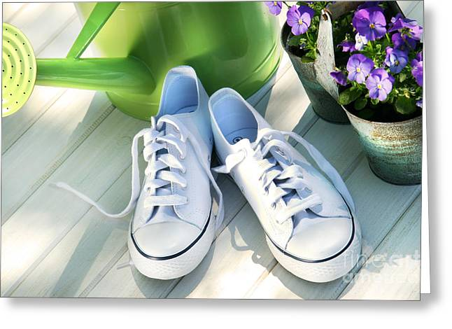 Running Shoe Greeting Cards - White tennis running shoes Greeting Card by Sandra Cunningham