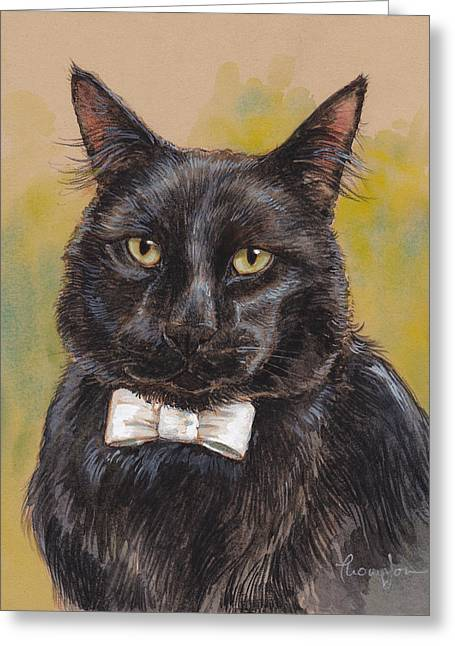 Cat Mixed Media Greeting Cards - White Tie Affair Greeting Card by Tracie Thompson