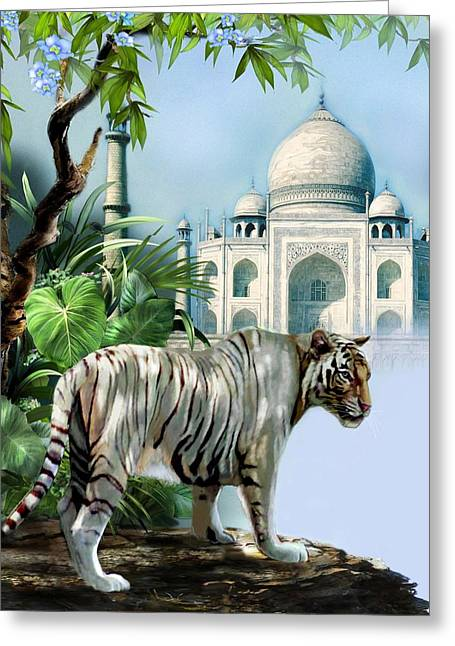 Gina Greeting Cards - White Tiger and the Taj Mahal Image of Beauty Greeting Card by Gina Femrite