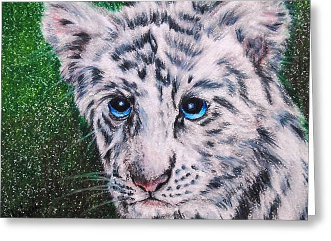 White Tiger Cub Greeting Card by Jai Johnson
