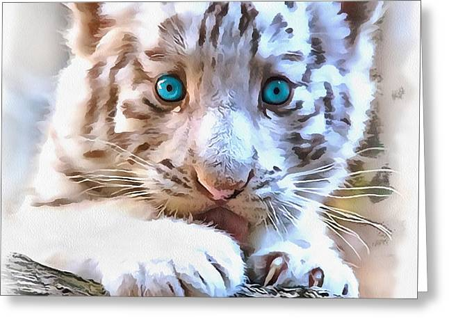The Tiger Greeting Cards - White tiger cub Greeting Card by Sergey Lukashin