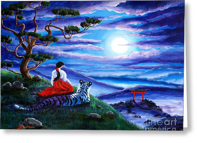 Shinto Greeting Cards - White Tiger Meditation Greeting Card by Laura Iverson