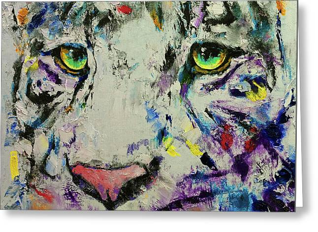 White Tiger Greeting Card by Michael Creese