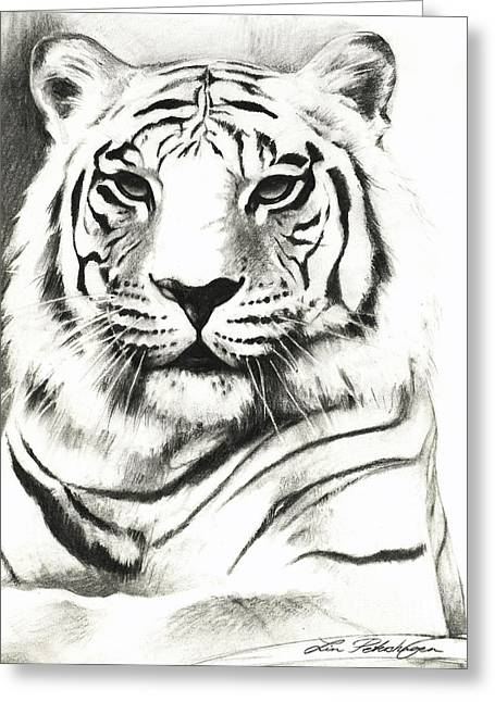 The White Stripes Greeting Cards - White Tiger Portrait Greeting Card by Lin Petershagen