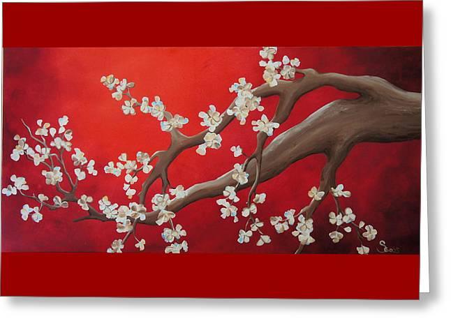 White Tree Blossoms Greeting Card by Shiela Gosselin