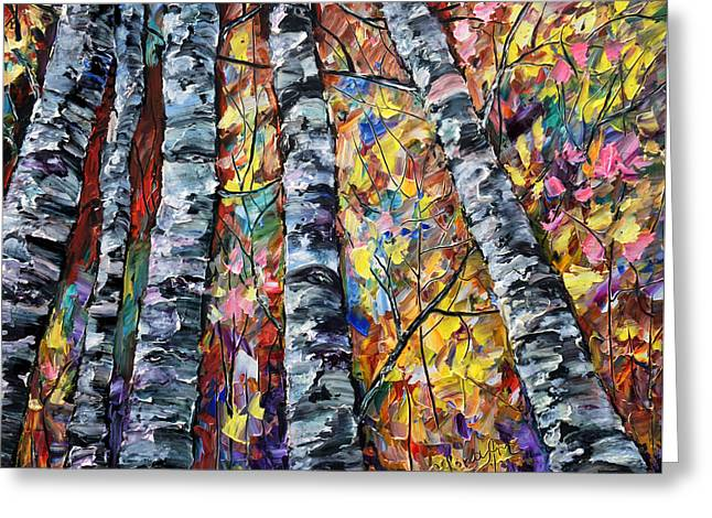 White Trees  - Palette Knife  Greeting Card by OLenaArt Lena Owens