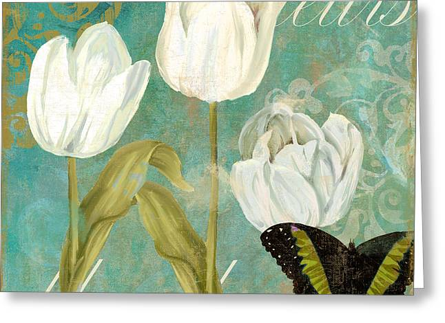 White Paintings Greeting Cards - White Tulips Greeting Card by Mindy Sommers