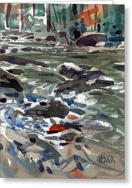 Rapid Paintings Greeting Cards - White Water Greeting Card by Donald Maier