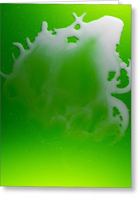 Mermaid Wallpaper Greeting Cards - White Water on Green Plastic Greeting Card by John Williams