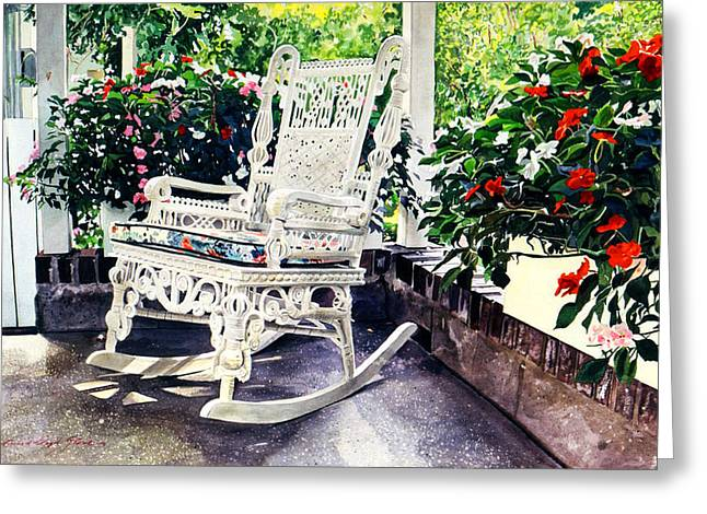 Flower Boxes Paintings Greeting Cards - White Wicker - Stockbridge MA Greeting Card by David Lloyd Glover