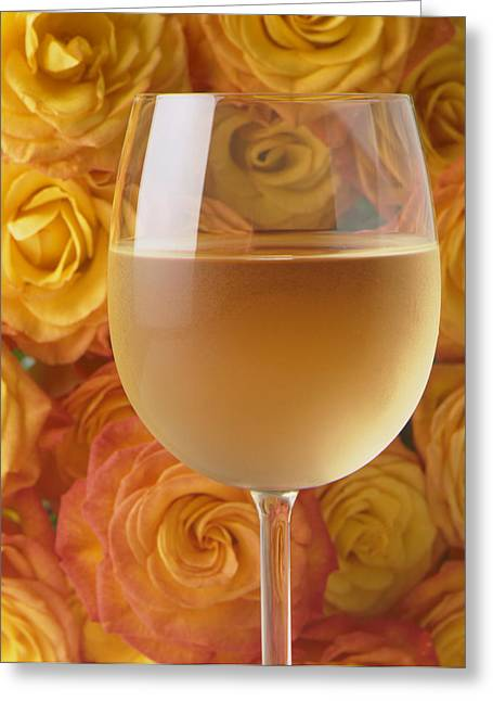 Flavor. Greeting Cards - White wine and yellow roses Greeting Card by Garry Gay