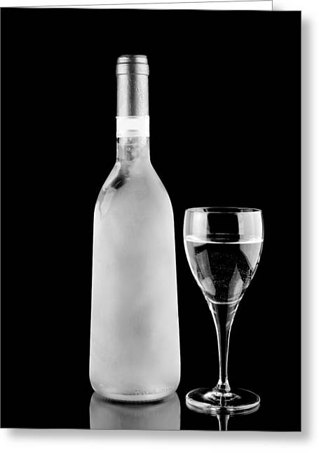 Sauvignon Digital Art Greeting Cards - White Wine Frozen Greeting Card by Toppart Sweden