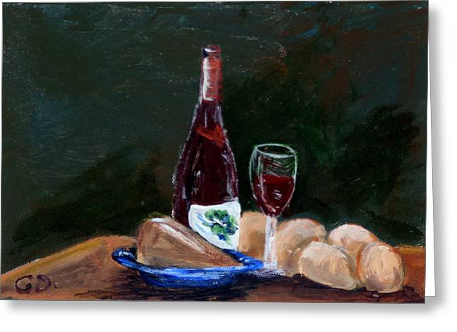 Gail Daley Greeting Cards - White Wine Greeting Card by Gail Daley
