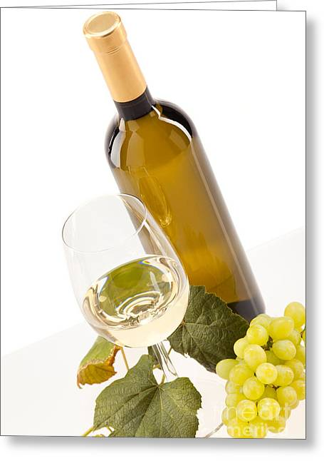 Beverage Greeting Cards - White wine in glass with grapes and bottle Greeting Card by Wolfgang Steiner
