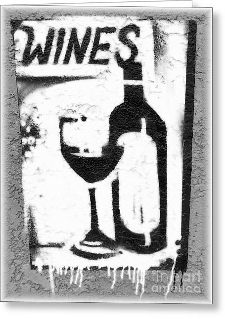 Saloons Greeting Cards - White wine sign Greeting Card by Barbie Corbett-Newmin