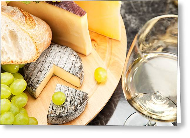 Alcohol Greeting Cards - White wine with cheese Greeting Card by Wolfgang Steiner