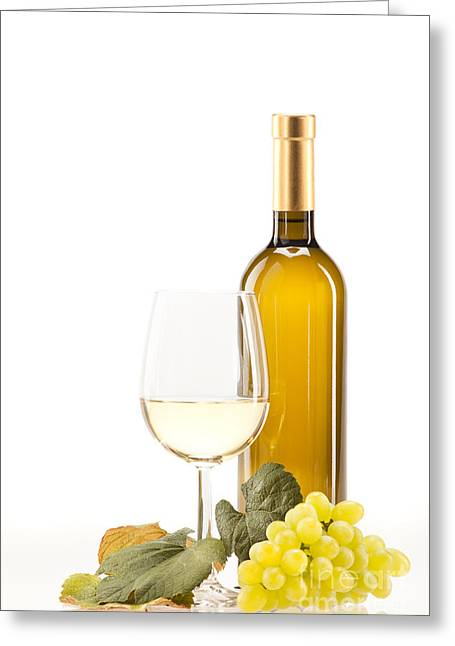 Drink Greeting Cards - White wine Greeting Card by Wolfgang Steiner