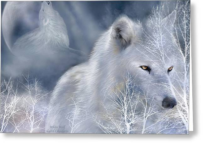 Howling Greeting Cards - White Wolf Greeting Card by Carol Cavalaris