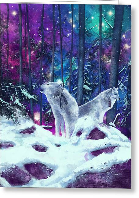 Nature Scene With Moon Digital Art Greeting Cards - White Wolves Greeting Card by MB Art factory