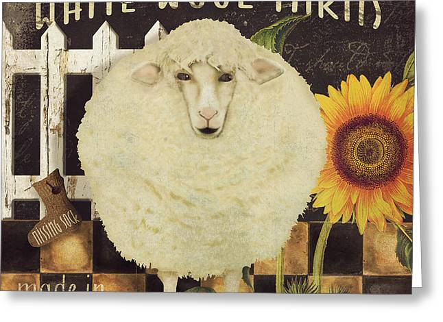 Missing Paintings Greeting Cards - White Wool Farms Greeting Card by Mindy Sommers