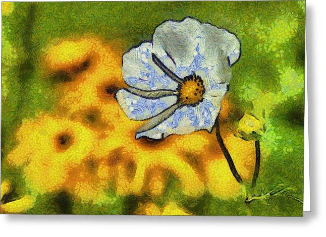 Van Gogh Style Greeting Cards - White Yellow Greeting Card by Dennis Wickerink