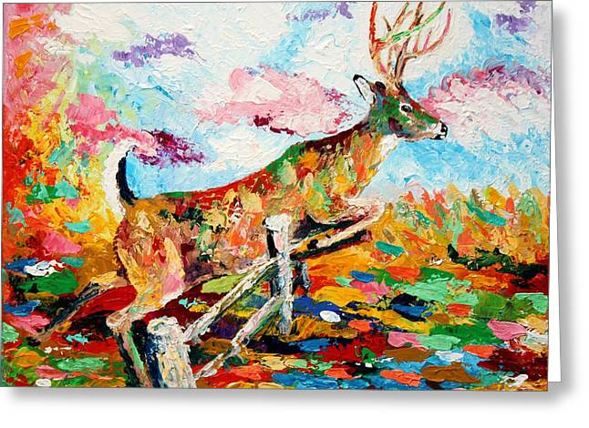 Deer Camp Greeting Cards - Whitetail Buck Jumping a Fence Greeting Card by Karl Wagner