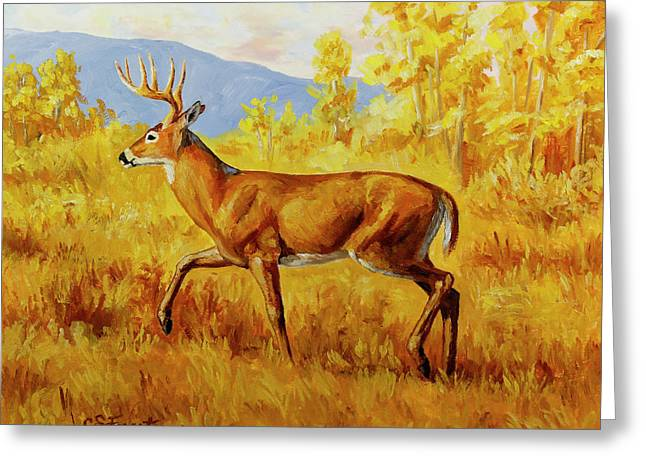 Whitetail Deer In Aspen Woods Greeting Card by Crista Forest