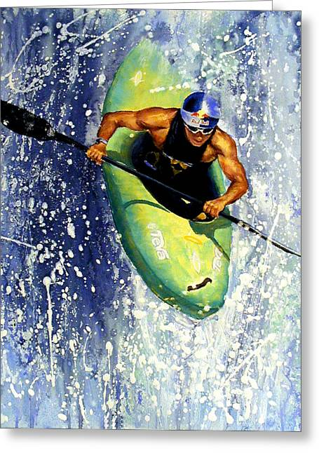 Action Sports Portrait Greeting Cards - Whitewater Kayaker Greeting Card by Lynee Sapere
