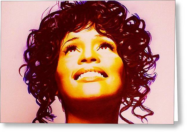 Smile Pastels Greeting Cards - Whitney Houston Greeting Card by Mandy Thomas