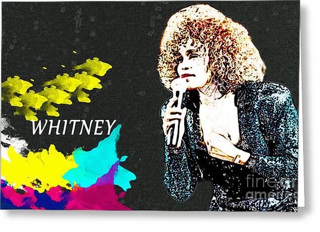 Whitney Houston Greeting Card by Manjot Singh Sachdeva