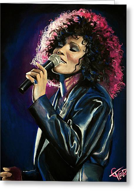 Carlton Greeting Cards - Whitney Houston Greeting Card by Tom Carlton