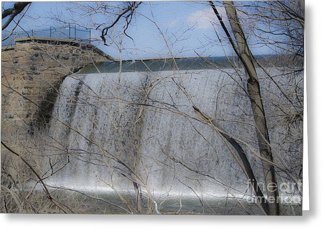Public Water Supply Greeting Cards - Eli Whitneys Dam  Greeting Card by Linda Troski
