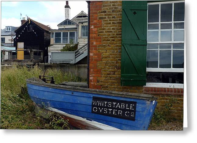 Fishing Boats Greeting Cards - Whitstable Oyster Company Greeting Card by Carla Parris