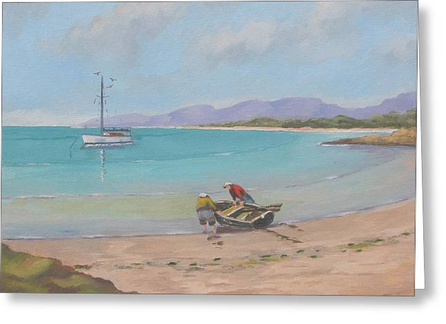 Murray Mcleod Paintings Greeting Cards - Whitsunday sailors Greeting Card by Murray McLeod