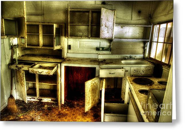 Who Left The Cupboard Doors Open Greeting Card by Michael Eingle