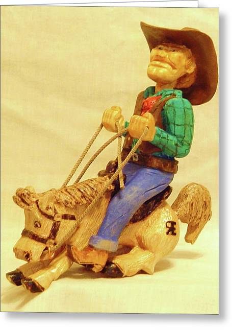 Woodcarving Sculptures Greeting Cards - Whoa Horsey Greeting Card by Russell Ellingsworth