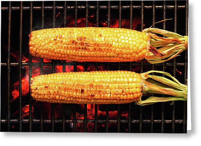 Kernels Greeting Cards - Whole Corn on grill Greeting Card by Johan Swanepoel