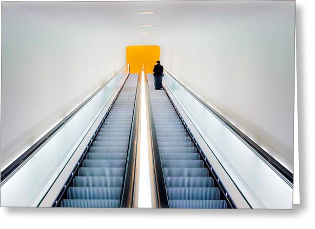 Escalator Greeting Cards - Whos Afraid Of Black, Yellow And Grey Greeting Card by Michiel Hageman