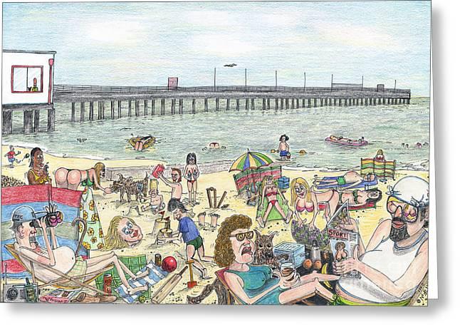 Water Jug Drawings Greeting Cards - Whos Piering Greeting Card by Steve Royce Griffin