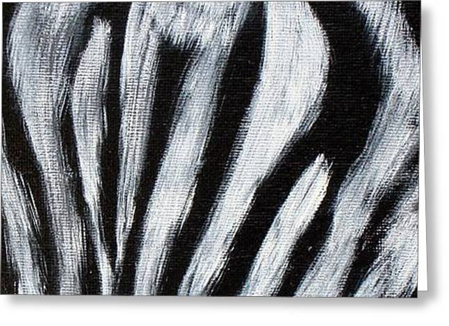 Eyes Paintings Greeting Cards - Whos Watching Who   Zebra Greeting Card by Darlene Richardson